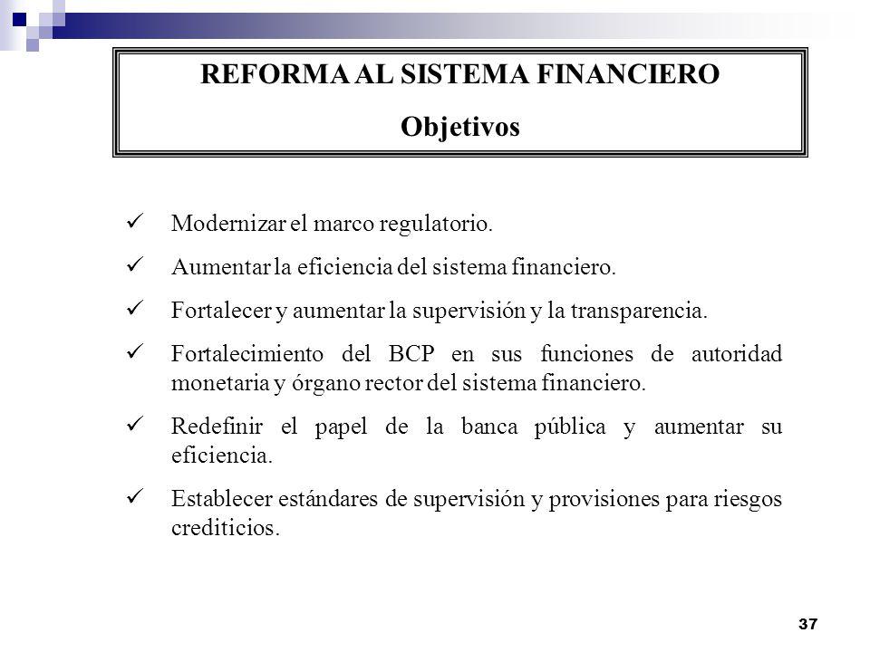 37 REFORMA AL SISTEMA FINANCIERO Objetivos Modernizar el marco regulatorio. Aumentar la eficiencia del sistema financiero. Fortalecer y aumentar la su