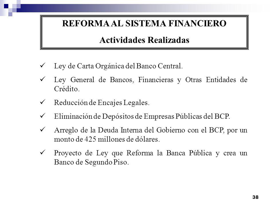 38 REFORMA AL SISTEMA FINANCIERO Actividades Realizadas Ley de Carta Orgánica del Banco Central. Ley General de Bancos, Financieras y Otras Entidades