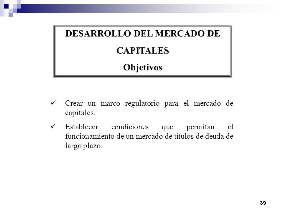 39 DESARROLLO DEL MERCADO DE CAPITALES Objetivos Crear un marco regulatorio para el mercado de capitales. Establecer condiciones que permitan el funci
