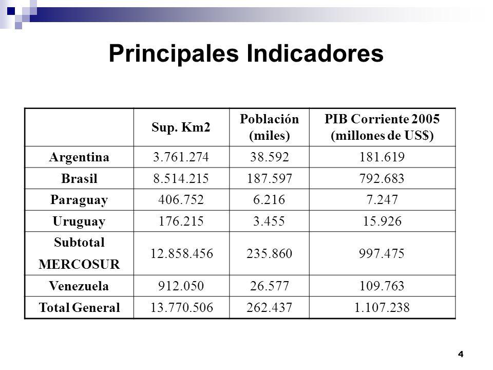 4 Principales Indicadores Sup. Km2 Población (miles) PIB Corriente 2005 (millones de US$) Argentina3.761.27438.592181.619 Brasil8.514.215187.597792.68