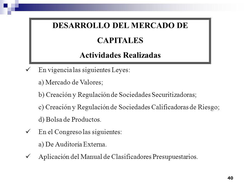 40 DESARROLLO DEL MERCADO DE CAPITALES Actividades Realizadas En vigencia las siguientes Leyes: a) Mercado de Valores; b) Creación y Regulación de Soc