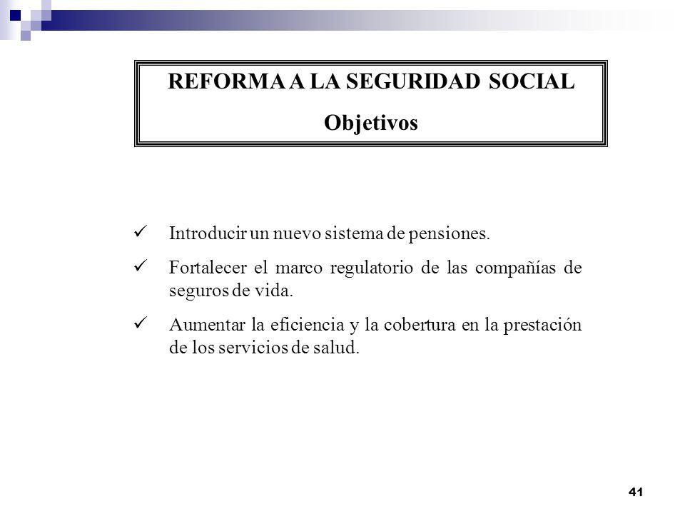 41 REFORMA A LA SEGURIDAD SOCIAL Objetivos Introducir un nuevo sistema de pensiones. Fortalecer el marco regulatorio de las compañías de seguros de vi