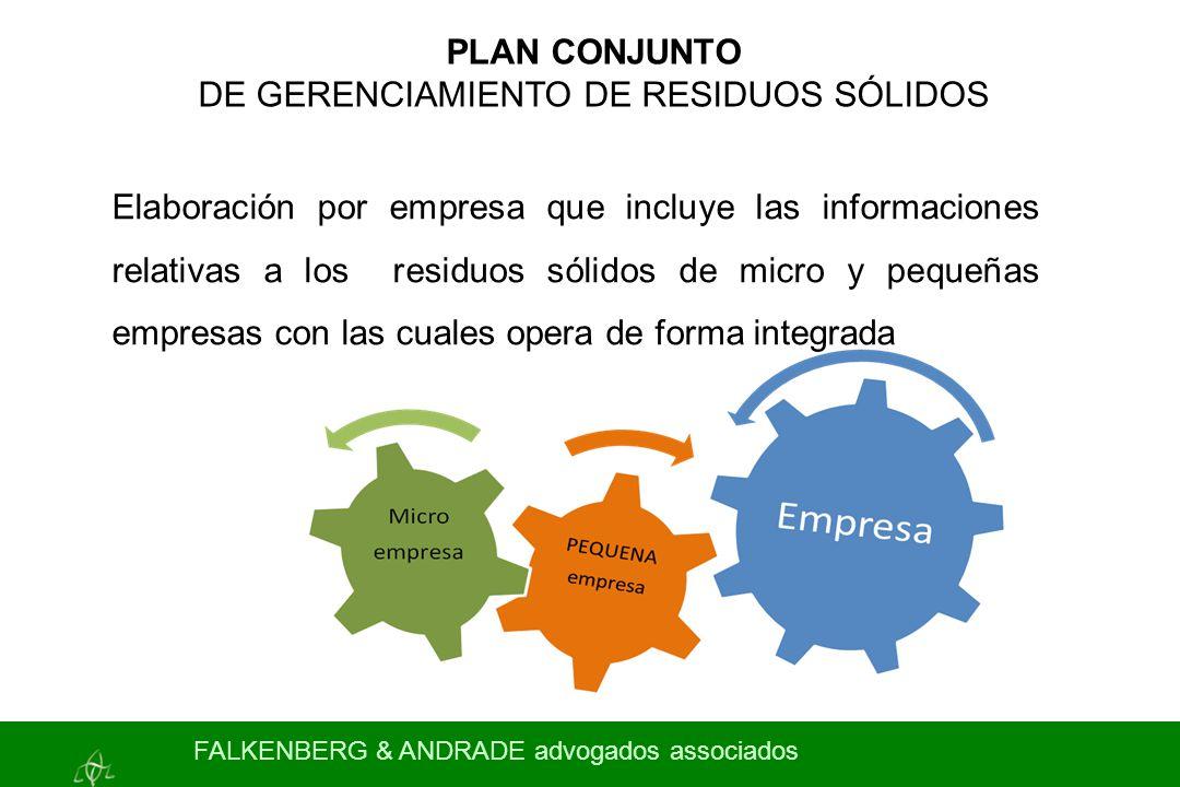 PLAN CONJUNTO DE GERENCIAMIENTO DE RESIDUOS SÓLIDOS Elaboración por empresa que incluye las informaciones relativas a los residuos sólidos de micro y
