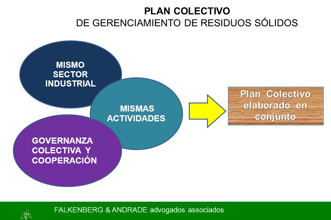 PLAN COLECTIVO DE GERENCIAMIENTO DE RESIDUOS SÓLIDOS MISMO SECTOR INDUSTRIAL Plan Colectivo elaborado en conjunto MISMAS ACTIVIDADES GOVERNANZA COLECTIVA Y COOPERACIÓN FALKENBERG & ANDRADE advogados associados
