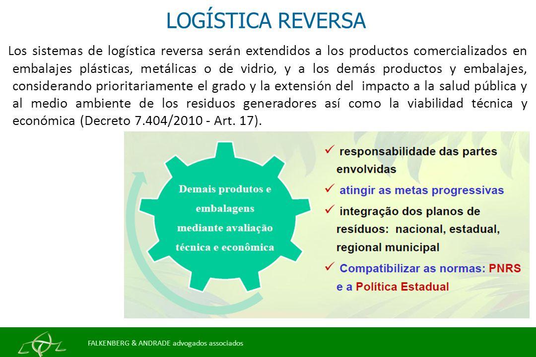LOGÍSTICA REVERSA Los sistemas de logística reversa serán extendidos a los productos comercializados en embalajes plásticas, metálicas o de vidrio, y a los demás productos y embalajes, considerando prioritariamente el grado y la extensión del impacto a la salud pública y al medio ambiente de los residuos generadores así como la viabilidad técnica y económica (Decreto 7.404/2010 - Art.