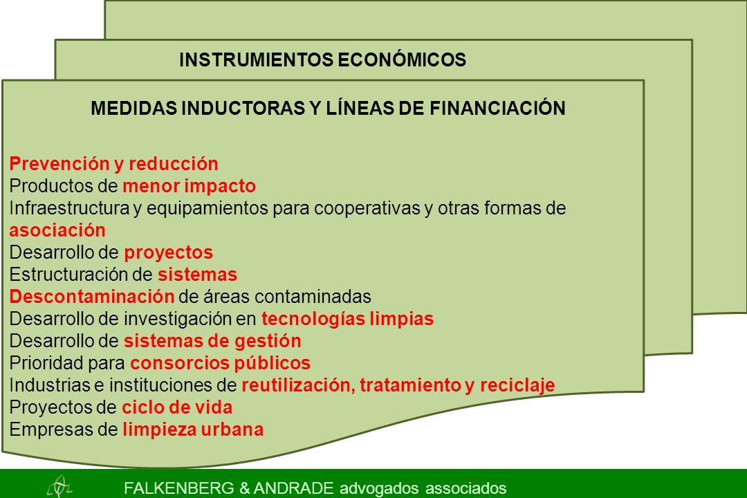 INSTRUMIENTOS ECONÓMICOS MEDIDAS INDUCTORAS Y LÍNEAS DE FINANCIACIÓN Prevención y reducción Productos de menor impacto Infraestructura y equipamientos