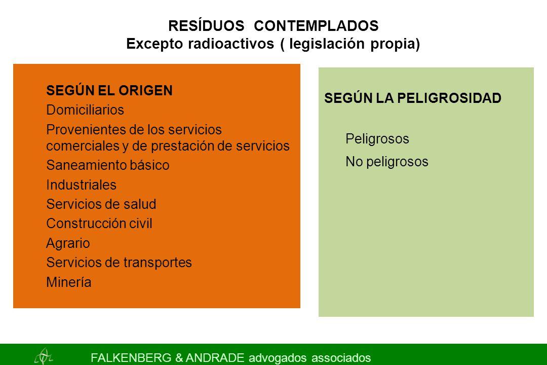 RESÍDUOS CONTEMPLADOS Excepto radioactivos ( legislación propia) SEGÚN LA PELIGROSIDAD Peligrosos No peligrosos FALKENBERG & ANDRADE advogados associa