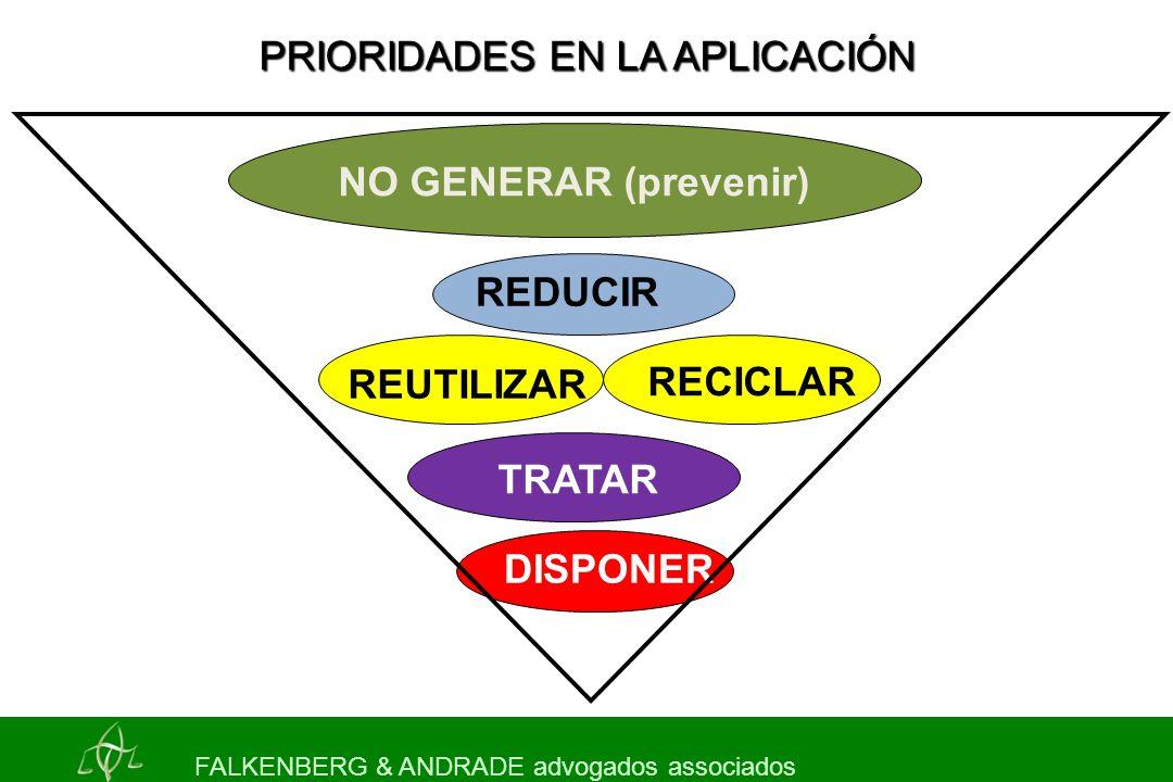 NO GENERAR (prevenir) RECICLAR TRATAR DISPONER PRIORIDADES EN LA APLICACIÓN FALKENBERG & ANDRADE advogados associados REDUCIR REUTILIZAR