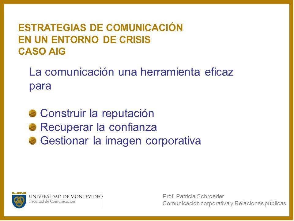 La comunicación una herramienta eficaz para Construir la reputación Recuperar la confianza Gestionar la imagen corporativa Prof. Patricia Schroeder Co
