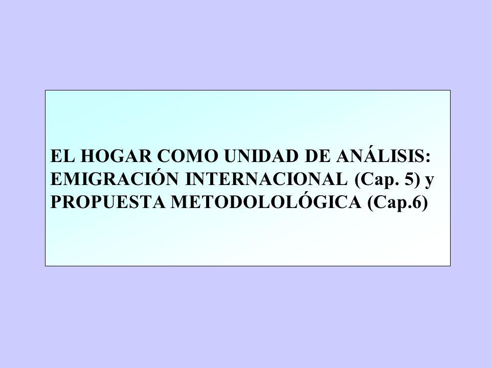 EL HOGAR COMO UNIDAD DE ANÁLISIS: EMIGRACIÓN INTERNACIONAL (Cap. 5) y PROPUESTA METODOLOLÓGICA (Cap.6)