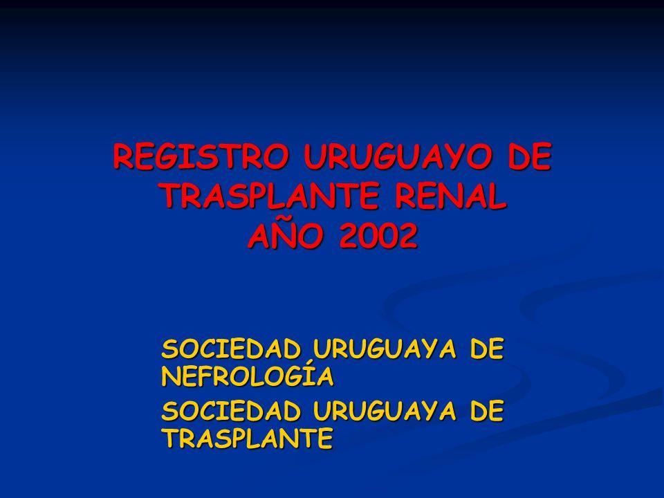 REGISTRO URUGUAYO DE TRASPLANTE RENAL AÑO 2002 SOCIEDAD URUGUAYA DE NEFROLOGÍA SOCIEDAD URUGUAYA DE TRASPLANTE