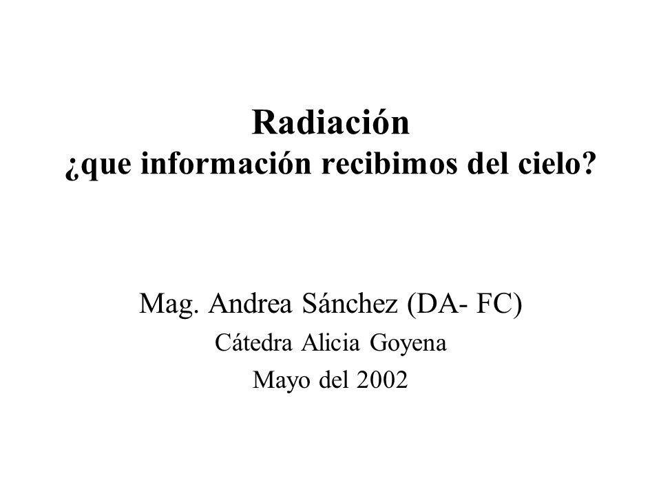 Radiación ¿que información recibimos del cielo? Mag. Andrea Sánchez (DA- FC) Cátedra Alicia Goyena Mayo del 2002