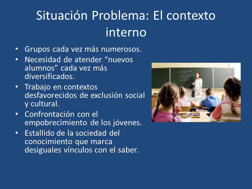 Situación Problema: El contexto interno Grupos cada vez más numerosos. Necesidad de atender nuevos alumnos cada vez más diversificados. Trabajo en con