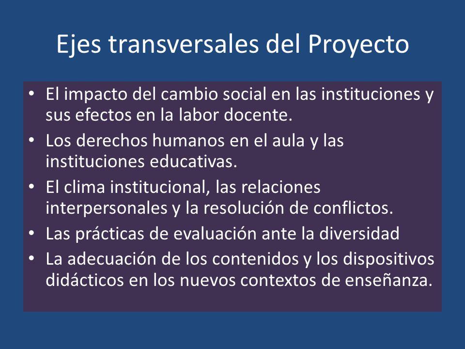 Ejes transversales del Proyecto El impacto del cambio social en las instituciones y sus efectos en la labor docente. Los derechos humanos en el aula y