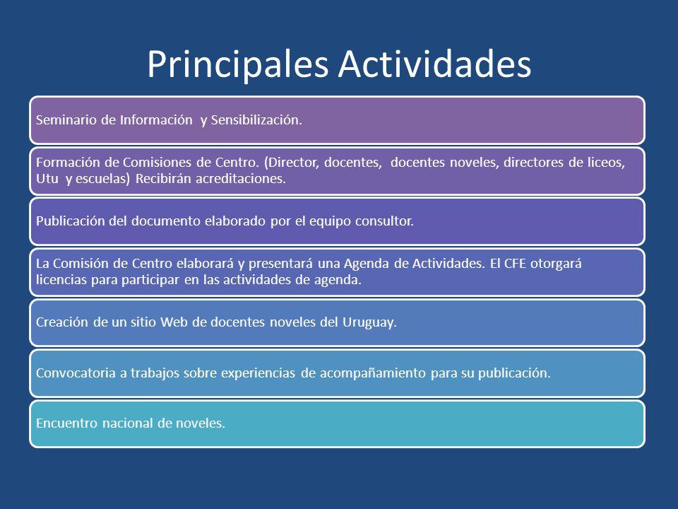 Principales Actividades Seminario de Información y Sensibilización. Formación de Comisiones de Centro. (Director, docentes, docentes noveles, director