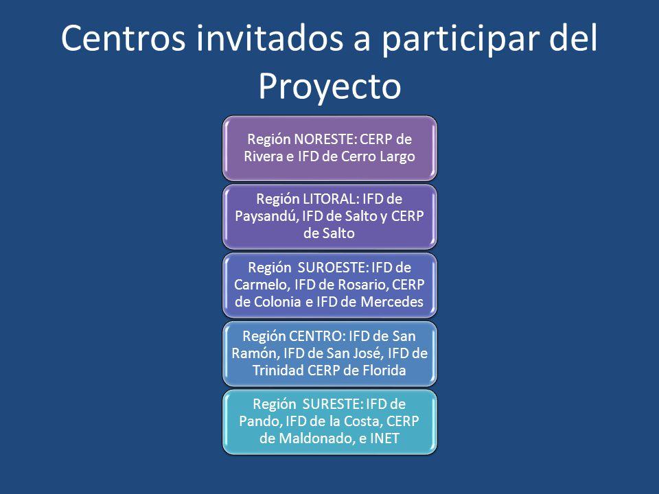 Centros invitados a participar del Proyecto Región NORESTE: CERP de Rivera e IFD de Cerro Largo Región LITORAL: IFD de Paysandú, IFD de Salto y CERP d