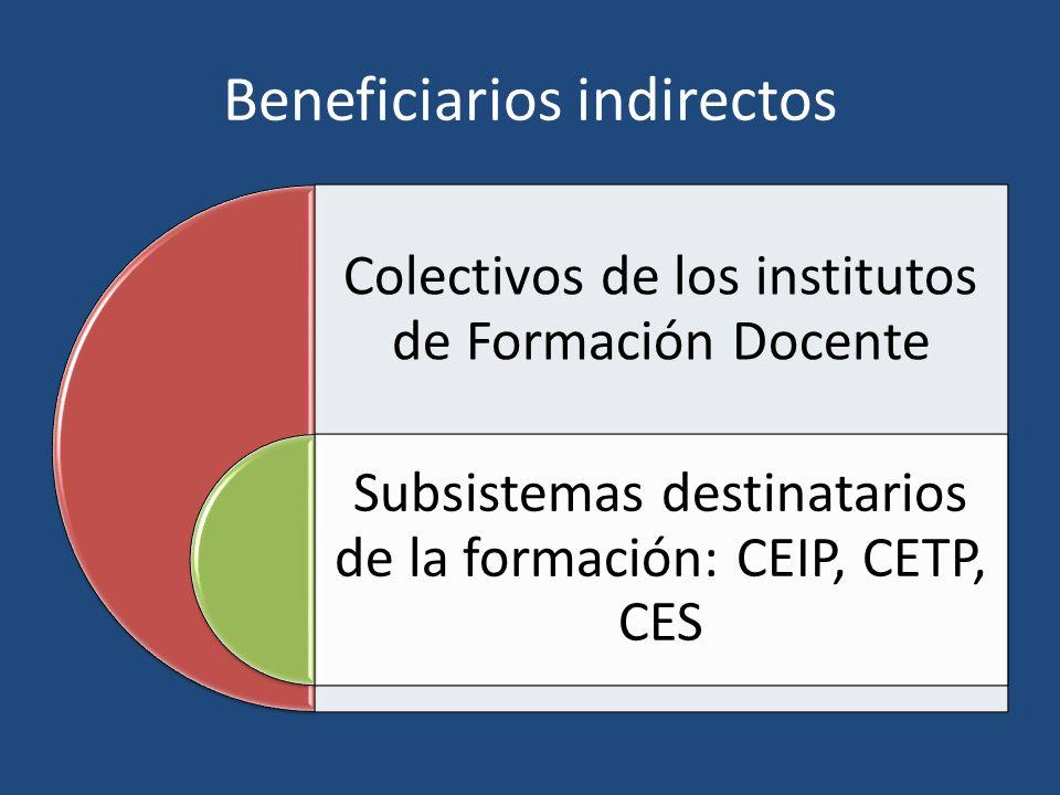 Beneficiarios indirectos Colectivos de los institutos de Formación Docente Subsistemas destinatarios de la formación: CEIP, CETP, CES