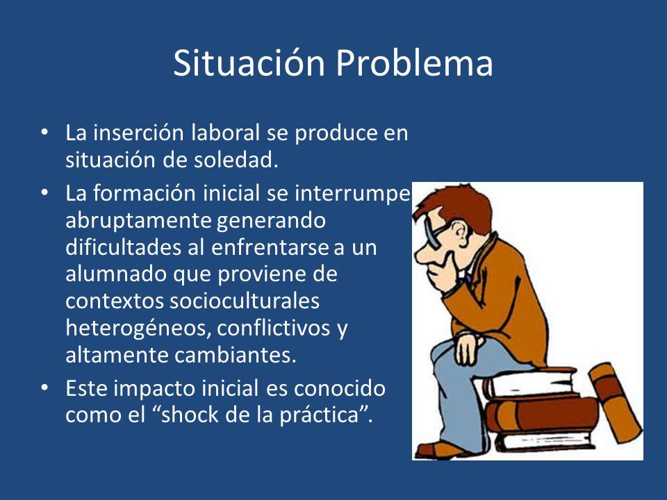 Situación Problema La inserción laboral se produce en situación de soledad. La formación inicial se interrumpe abruptamente generando dificultades al