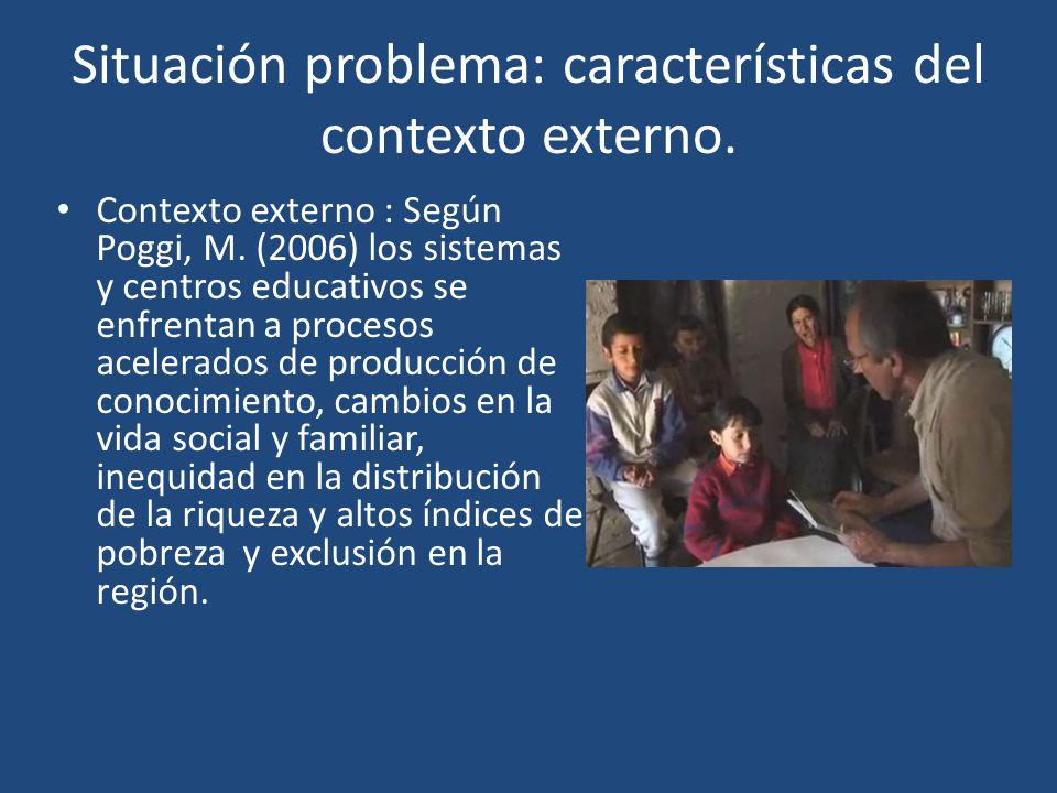 Situación problema: características del contexto externo. Contexto externo : Según Poggi, M. (2006) los sistemas y centros educativos se enfrentan a p