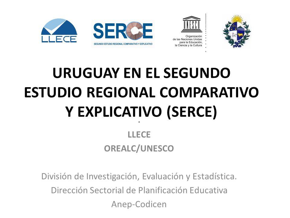 URUGUAY EN EL SEGUNDO ESTUDIO REGIONAL COMPARATIVO Y EXPLICATIVO (SERCE). LLECE OREALC/UNESCO División de Investigación, Evaluación y Estadística. Dir