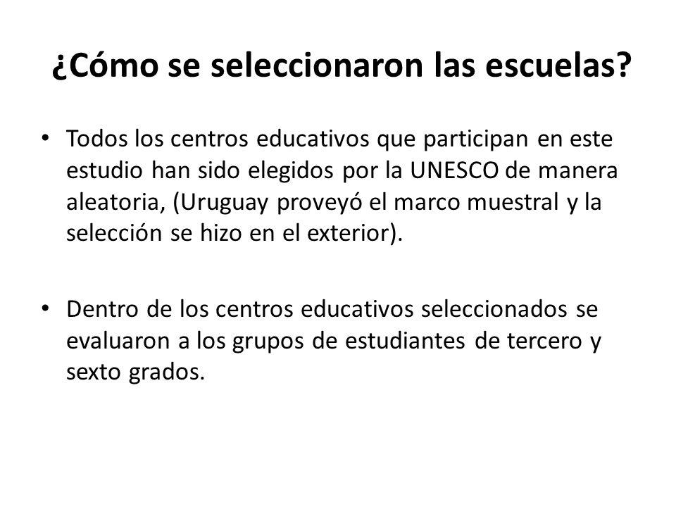 ¿Cómo se seleccionaron las escuelas? Todos los centros educativos que participan en este estudio han sido elegidos por la UNESCO de manera aleatoria,