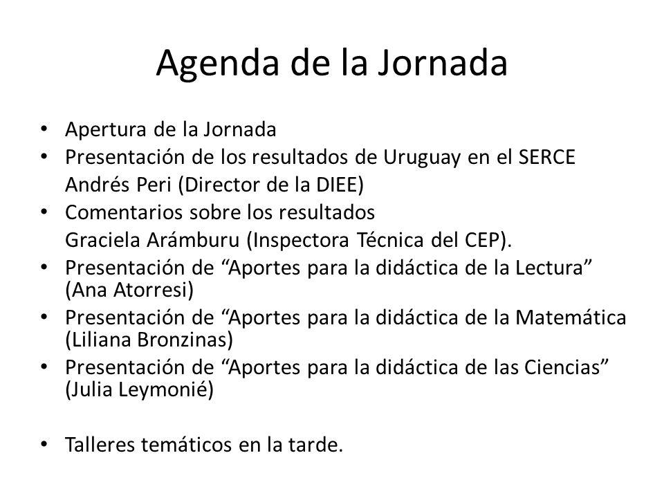 Agenda de la Jornada Apertura de la Jornada Presentación de los resultados de Uruguay en el SERCE Andrés Peri (Director de la DIEE) Comentarios sobre
