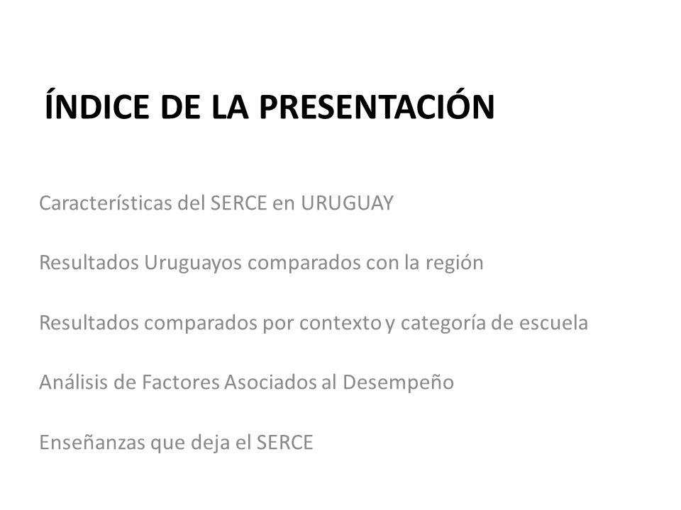 ÍNDICE DE LA PRESENTACIÓN Características del SERCE en URUGUAY Resultados Uruguayos comparados con la región Resultados comparados por contexto y cate