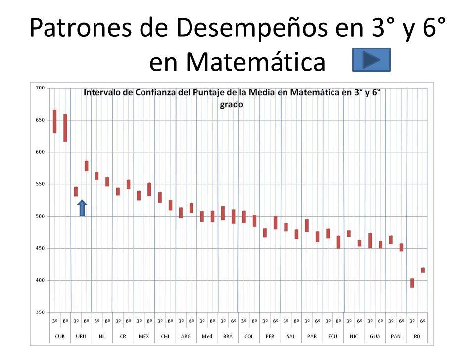 Patrones de Desempeños en 3° y 6° en Matemática