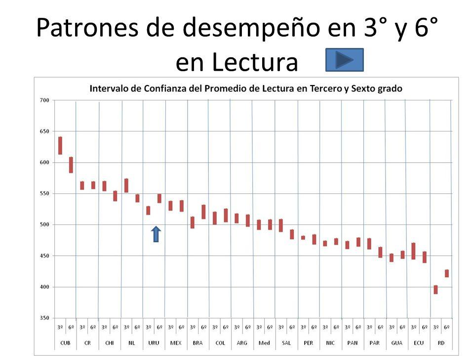 Patrones de desempeño en 3° y 6° en Lectura