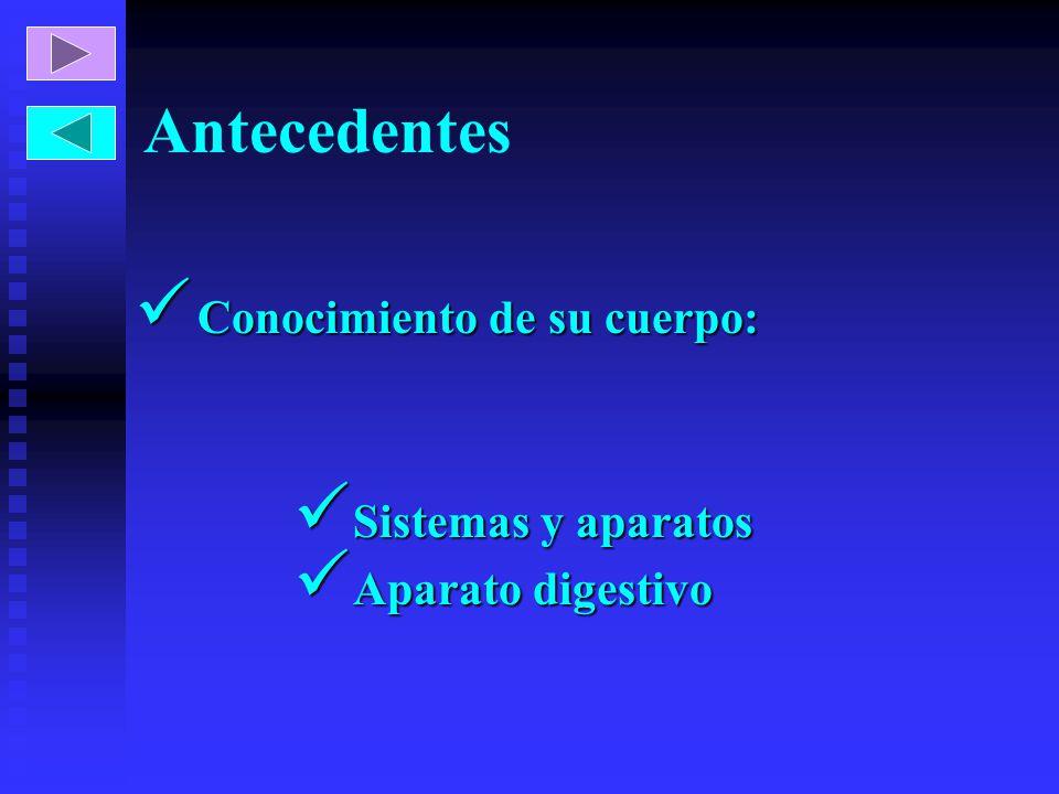 Antecedentes Conocimiento de su cuerpo: Conocimiento de su cuerpo: Sistemas y aparatos Sistemas y aparatos Aparato digestivo Aparato digestivo