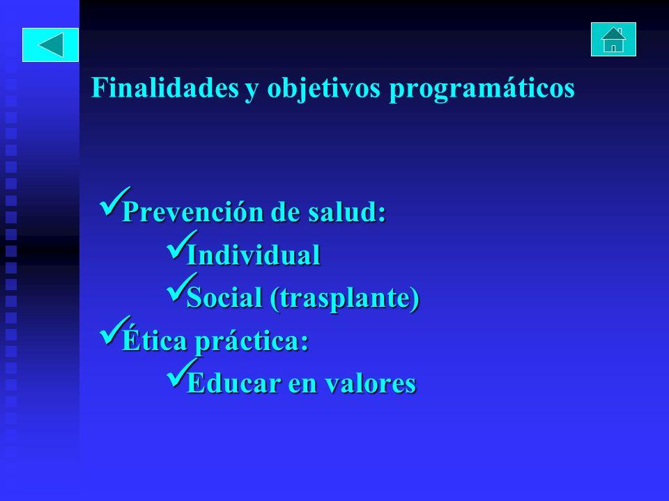 Finalidades y objetivos programáticos Prevención de salud: Prevención de salud: Individual Individual Social (trasplante) Social (trasplante) Ética práctica: Ética práctica: Educar en valores Educar en valores