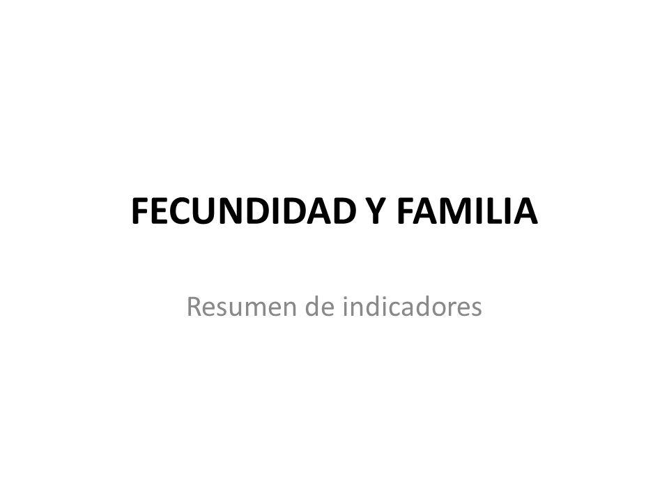 FECUNDIDAD Y FAMILIA Resumen de indicadores