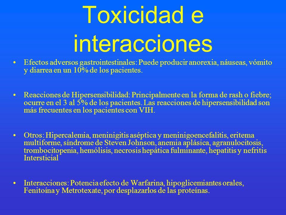Toxicidad e interacciones Efectos adversos gastrointestinales: Puede producir anorexia, náuseas, vómito y diarrea en un 10% de los pacientes. Reaccion