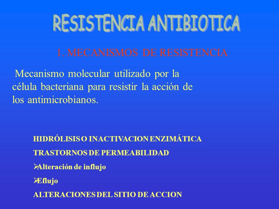 Mecanismo molecular utilizado por la célula bacteriana para resistir la acción de los antimicrobianos. 1. MECANISMOS DE RESISTENCIA HIDRÓLISIS O INACT