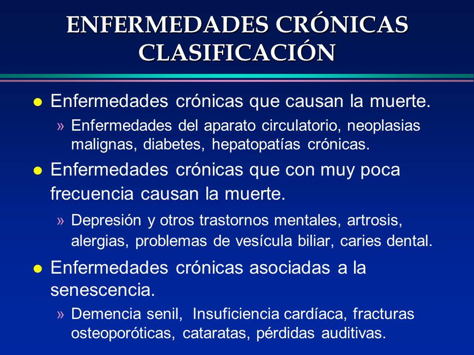 ENFERMEDADES CRÓNICAS CLASIFICACIÓN l Enfermedades crónicas que causan la muerte. »Enfermedades del aparato circulatorio, neoplasias malignas, diabete