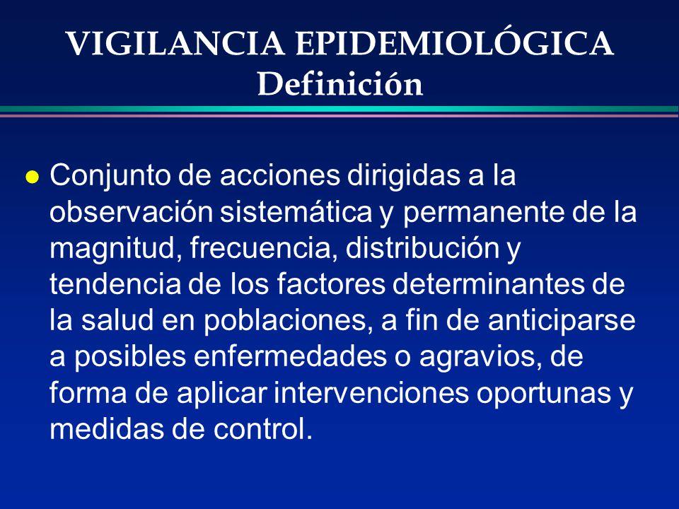 VIGILANCIA EPIDEMIOLÓGICA Definición l Conjunto de acciones dirigidas a la observación sistemática y permanente de la magnitud, frecuencia, distribuci