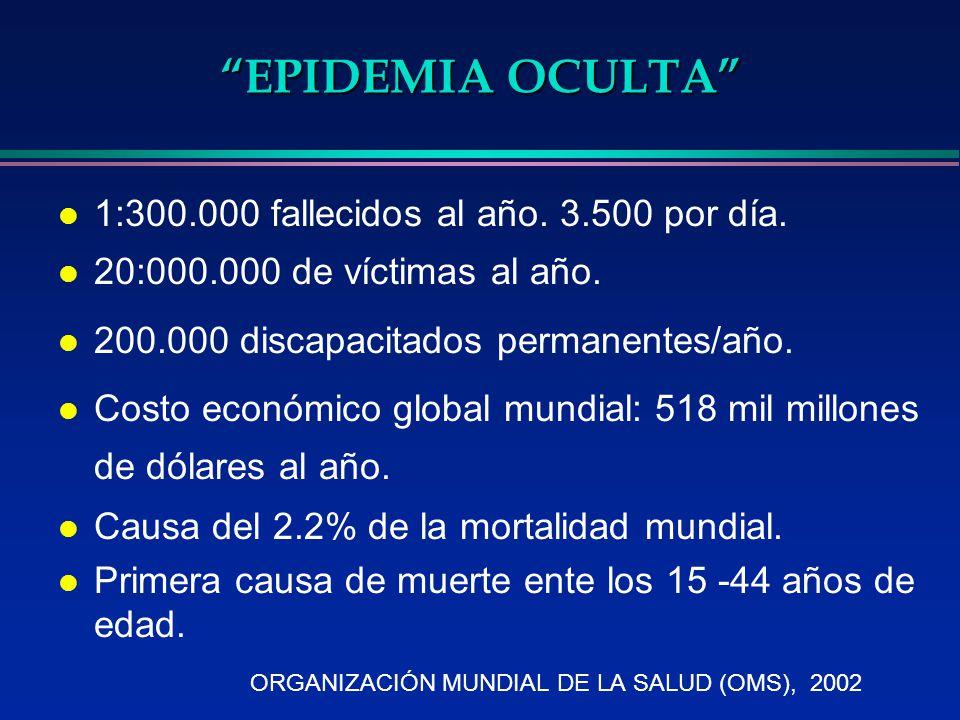 EPIDEMIA OCULTA l 1:300.000 fallecidos al año. 3.500 por día. l 20:000.000 de víctimas al año. l 200.000 discapacitados permanentes/año. l Costo econó