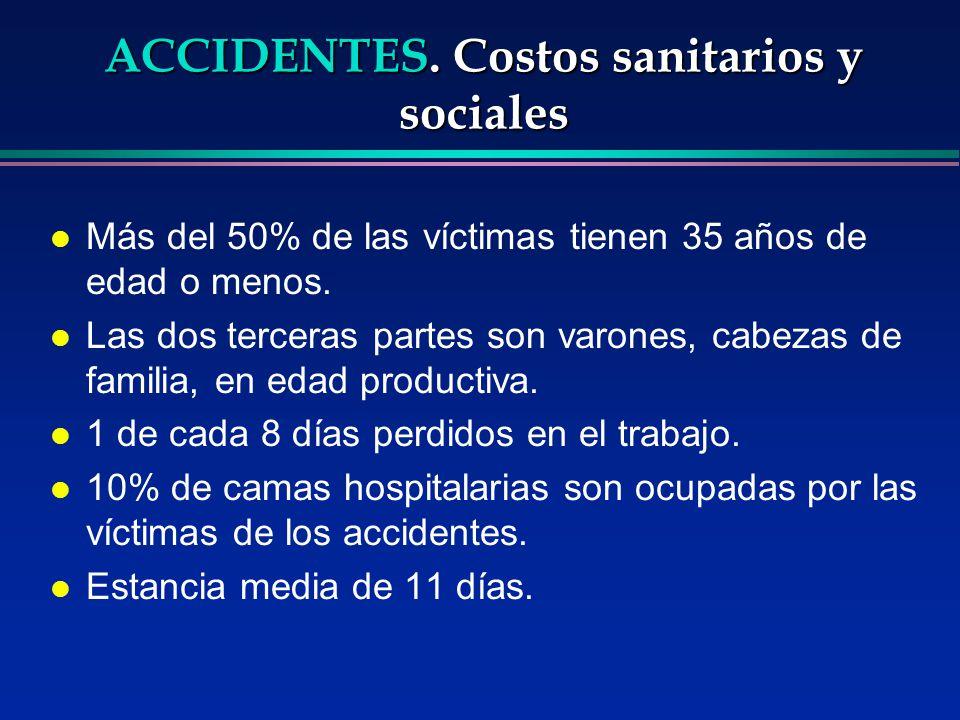 ACCIDENTES. Costos sanitarios y sociales l Más del 50% de las víctimas tienen 35 años de edad o menos. l Las dos terceras partes son varones, cabezas
