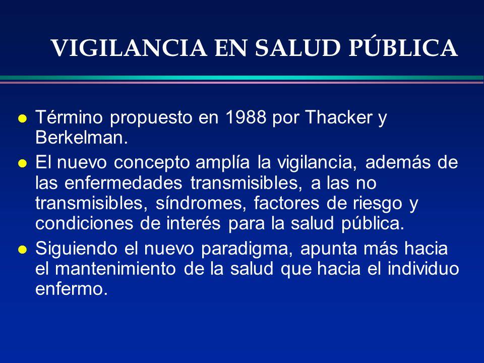 VIGILANCIA EN SALUD PÚBLICA l Término propuesto en 1988 por Thacker y Berkelman. l El nuevo concepto amplía la vigilancia, además de las enfermedades