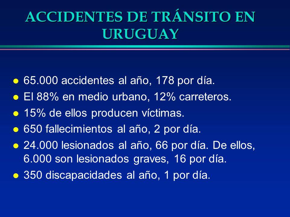 ACCIDENTES DE TRÁNSITO EN URUGUAY l 65.000 accidentes al año, 178 por día. l El 88% en medio urbano, 12% carreteros. l 15% de ellos producen víctimas.