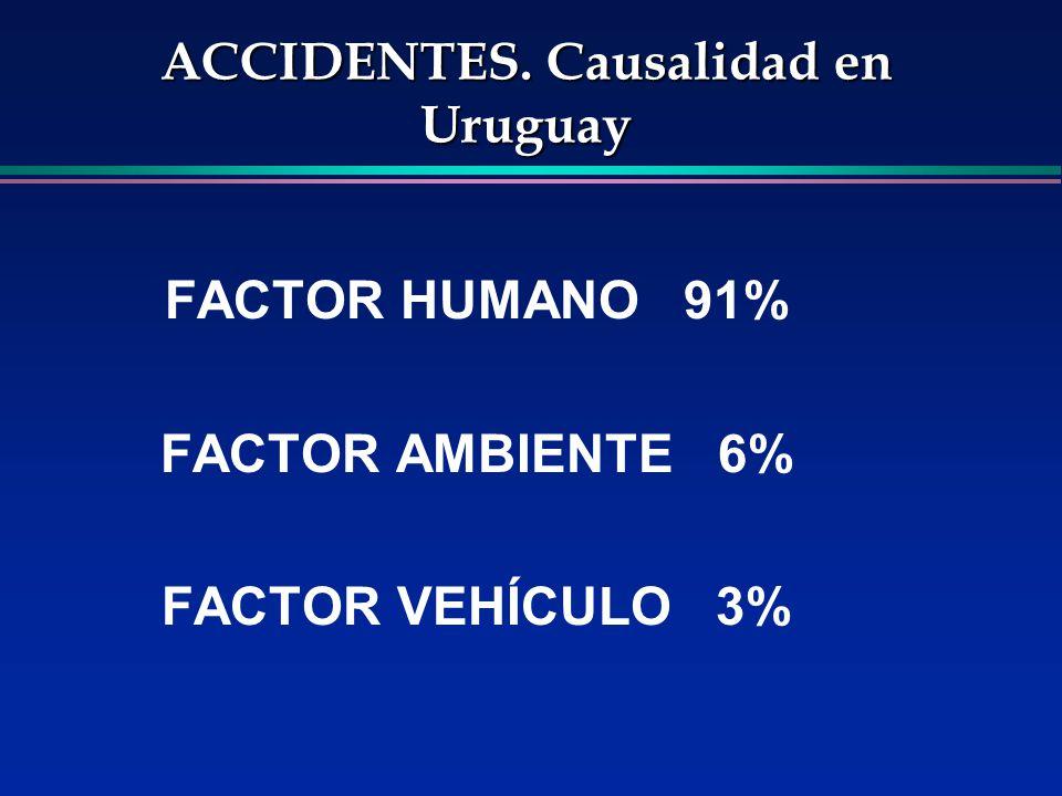 ACCIDENTES. Causalidad en Uruguay FACTOR HUMANO 91% FACTOR AMBIENTE 6% FACTOR VEHÍCULO 3%