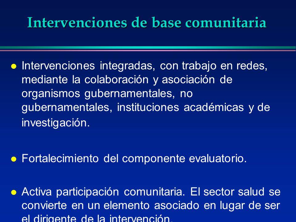 Intervenciones de base comunitaria l Intervenciones integradas, con trabajo en redes, mediante la colaboración y asociación de organismos gubernamenta