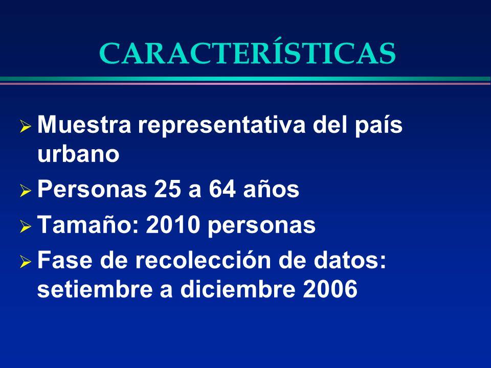 CARACTERÍSTICAS Muestra representativa del país urbano Personas 25 a 64 años Tamaño: 2010 personas Fase de recolección de datos: setiembre a diciembre