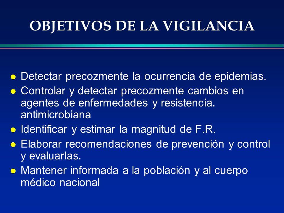 OBJETIVOS DE LA VIGILANCIA l Detectar precozmente la ocurrencia de epidemias. l Controlar y detectar precozmente cambios en agentes de enfermedades y