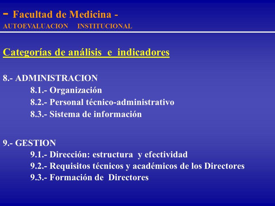 Categorías de análisis e indicadores 6.- INFRAESTRUCTURA FISICA E INSTALACIONES 6.1.- Planta Física y necesidades del programa 6.2.- Mantenimiento de