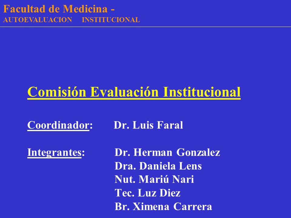 - Facultad de Medicina - - Facultad de Medicina - AUTOEVALUACION INSTITUCIONAL Resultados preliminares Setiembre 2002