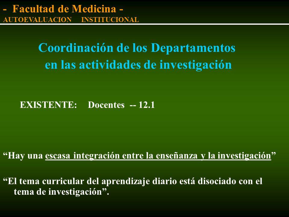Coordinación de los Departamentos en las actividades docentes La Facultad de Medicina ha desarrollado una doble y pesada estructura organizativa (cáte