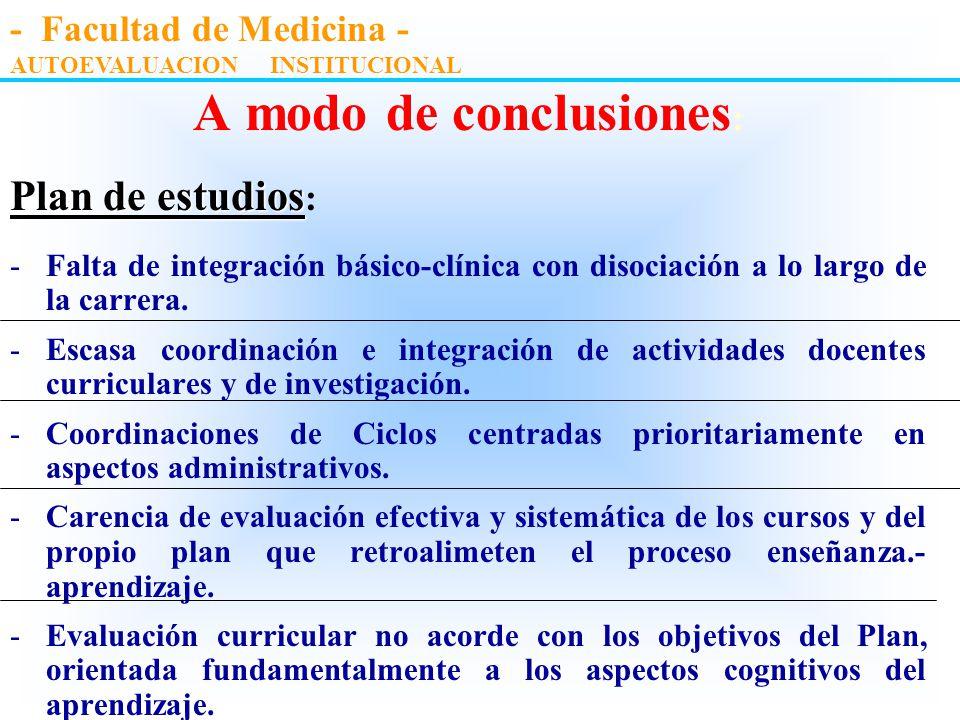A modo de conclusiones : Plan de estudios estudios: -Desconocimiento y discrepancias en cuanto a los objetivos de la carrera. -Carencia en cuanto a la