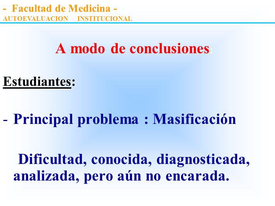 A modo de conclusiones : Plan de estudios estudios : -Falta de integración básico-clínica con disociación a lo largo de la carrera. -Escasa coordinaci