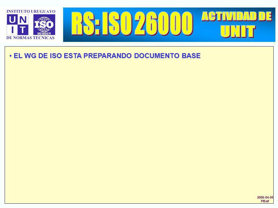 EL WG DE ISO ESTA PREPARANDO DOCUMENTO BASE EL WG DE ISO ESTA PREPARANDO DOCUMENTO BASE 2006-04-05PB/af